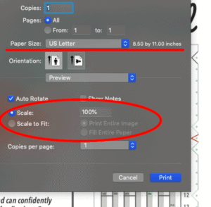print settings example