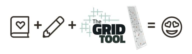 Journal + pencil + The Grid Tool spacing ruler = Love